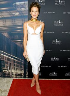 Kate Beckinsale truly stunned in a cutout white dress at the Battersea Power Station Global Launch Party in West Hollywood on Thursday, Nov. 6; see the flawless 41-year-old's latest style