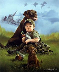 This little boy knows just how serious duck hunting is. He hangs in the yard with all of his hunting gear and his two dogs just thinking of what it will be like when he can go hunting. This print is s