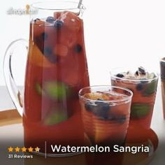 This hot-pink fruity sangria is perfect for summer entertaining! Use frozen blueberries to keep the drink ice cold. Who's getting their pitchers out to make this summer drink?
