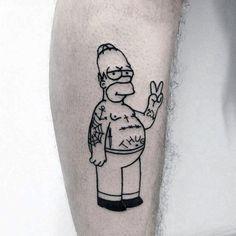 70 Cartoon Tattoos For Men – Animation Ink Design Ideas Homer Simpson Male Cartoon Tattoo Ideas Black Tattoos, New Tattoos, Small Tattoos, Tattoos For Guys, Tatoos, Simpsons Tattoo, Homer Simpson, First Tattoo, Get A Tattoo