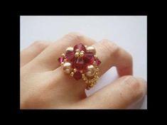 DIY | Strass Blumen Perlen Ring | Schmuck | Beaded pearl flower ring | Rhinestone beadwork - YouTube