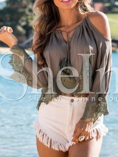 Shop Coffee Off The Shoulder With Lace Blouse online. SheIn offers Coffee Off The Shoulder With Lace Blouse & more to fit your fashionable needs.