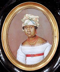 "Juliet Noel (Mrs Pierre Toussaint) wearing a ""tignon"" headdress was required by Louisiana laws. The Governor decreed that women of color, slave or free, should cover their heads and refrain from ostentatious dress."