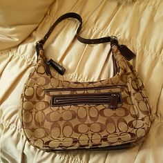 """Coach Purse Brown and Tan Coach Handbag. Like new, barely used. Comes with dust bag. Shoulder strap is apx 20"""" long Coach Bags Shoulder Bags"""