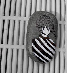 painted pebble- girl- stone #paintedrocks