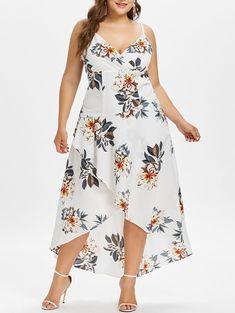 Plus Size Tropical Floral Overlap Flowing Dress 2374e5a59
