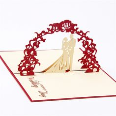 1PCS Wedding Postcards Invitation Cards Paper Cutting Greeting 15*10cm Pop Up Wishes Gifts for Lover Wedding Supplies 7C