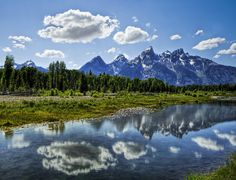 """Grand Tetons, Wyoming The Grand Tetons (French for """"The Big Breasts,"""" because, why not?) are the three largest peaks in the Tetons range, just south of Yellowstone Grand Teton National Park, National Parks, Places To Travel, Places To See, Travel Stuff, Travel Destinations, Yellowstone Nationalpark, Yellowstone Park, Glacier Park"""