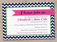 Navy Chevron Stripes Baby Shower Invitation Printable Digital File with Hot Pink. $16.00, via Etsy.