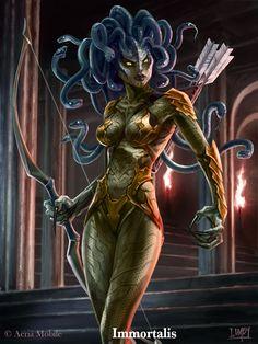 "Medusa character designed for Aeria Mobile back in Both the ""Regular"" and ""Evolved"" versions with the work in progress line drawings. Medusa Drawing, Medusa Art, Medusa Gorgon, Fantasy Art Women, Dark Fantasy Art, Fantasy Girl, Fantasy Artwork, Fantasy Creatures, Mythical Creatures"