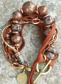 Rustica: Rustic Copper, Brass and Leather Bracelet