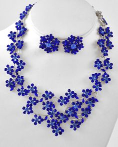 Rhodiumized / Royal Blue Rhinestone / Lead Compliant / Flower Necklace & Post Earring Set