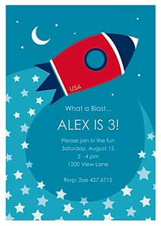 Great space, outerspace, rocket party invitation from Sugar Tree Paperie.