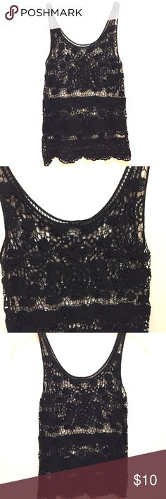 Charlotte Russe black crochet tank top Charlotte Russe black crochet tank top.                               Excellent condition!!! Charlotte Russe Tops Tank Tops
