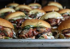 BBQ Pork Sliders with Cucumber Dill Slaw. This was a good leftover day for my office mates & friends. Recipe up on @Delish this weekend. Thinking about a peach or plum tart for a picnic tomm. Bts on  thejudylab. Happy Friday! #wwllt #thejudylab
