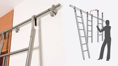 "MWE Klassik (""Classic"") Hook ladder is designed to allow the ladder to rest at a 10° angle for ascent and be stored between the floor and horizontal rail at a 90° angle. The felt lined hook utilizes a 20mm (13/16"") diameter horizontal solid stainless steel rail and may be moved for use with multiple rails. The rubber pivot base keeps the ladder in constant contact with the floor."