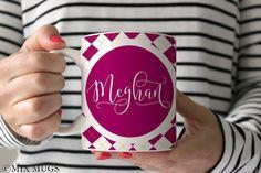 Preppy Mugs, Mugs Personalized, Custom Name Mugs, Mugs For Mom, Mugs for Her, Nurse Mugs, Teacher Mugs, Purple Mugs, Mugs for Girls (P4311)