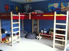 Corner Loft Bunk Beds - Corner Loft Bunk Beds – Ideas on Foter - Bunk Beds For Girls Room, Loft Bunk Beds, Kid Beds, Kids Bedroom, Corner Bunk Beds, Childrens Bedroom, Bedroom Ideas, Master Bedroom, Modern Kids Beds