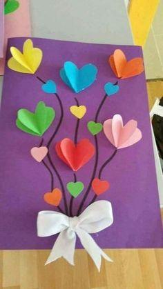 cartão do dia da mãe com corações em 3D