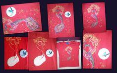 La sirena de la Pincesa Pompitas, camisetas pintadas a mano en el País de babia. trabajos realizados por encargo.