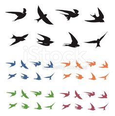 Swallows in Flight royalty-free stock vector art