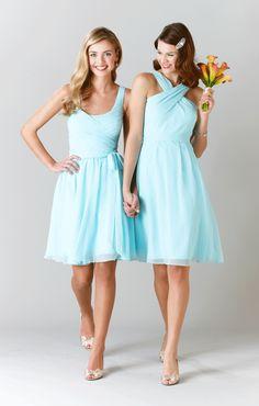 Kennedy Blue Short, Chiffon Bridesmaid Dresses in Mint | Kennedy Blue