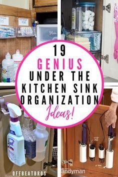 Under Bathroom Sink Storage, Under Kitchen Sink Organization, Kitchen Storage Hacks, Organize Under Sink, Kitchen Hacks, Sink Organizer, Organization Hacks, Organization Ideas, Storage Ideas