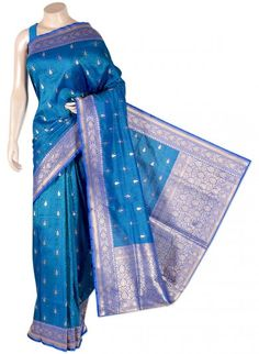 Royal Blue and Green Pure Silk Banarasi Saree