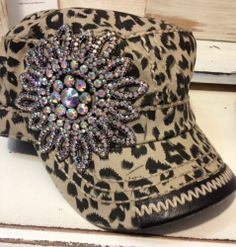 Olive Pique Leopard Flower Rhinestone Bling Military Cadet Hat Capthe Buckle | eBay