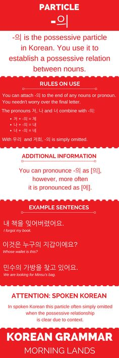 The Korean particle -의 is the Korean possessive. It has the same function as the English possessive 's', marking a possessive relation between nouns. #LearnKorean #Korean #한국어