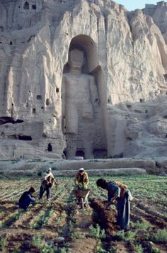 The 3rd century A.D. Buddha figure can be seen in the background - the world's tallest @ 55m (180 ft)...just one of the pre-Islamic statues, in Afghanistan, ordered destroyed...in 2001.