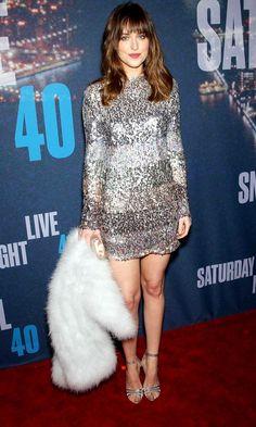 Dakota Johnson Ups The Glamour Stakes In A Sequinned Sonia Rykiel Mini Dress