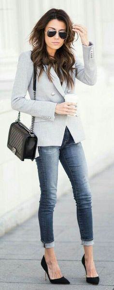Grey blazer, taupe dolman top, black suede heels, chanel bag These 3 Pieces Will Instantly Transform Your Basics Hello Fashion Source Street Style Outfits, Mode Outfits, Office Outfits, Fall Outfits, Casual Outfits, Cardigan Outfits, Pants Outfit, Office Wear, Moda Casual
