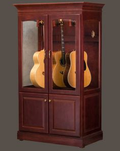 Guitar display case or cabinet that is Humidity controlled - This guitar cabinet system is the first and only way to safely display your guitars in a climate controlled environment especially for stringed musical instruments.-acousticsaver.com