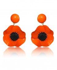 Cilea for Francoise Montague Orange Anemone Clip Earrings