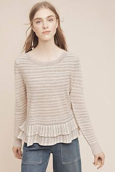 Flounced Cashmere Pullover