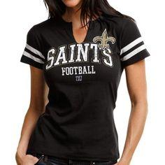dbdbd17a4 New Orleans Saints Ladies Go For Two Split Neck T-Shirt - Black