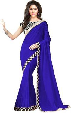 Hari Krishna Enterprise Self Design Fashion Georgette Saree(Blue)