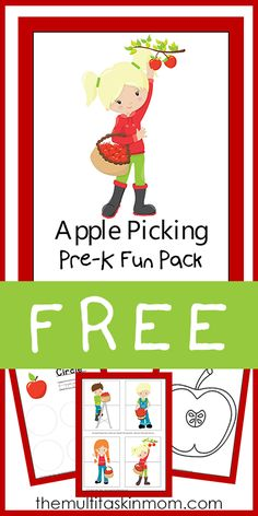 FREE Apple Picking Pre K Fun Pack from The Multi Taskin Mom
