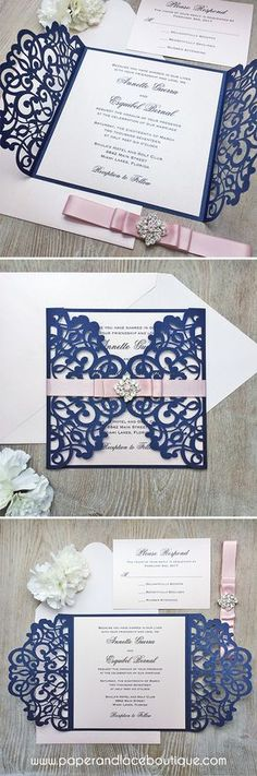ANNETTE - Navy and Blush Laser Cut Wedding Invitation - Glittering Navy Gatefold w/ Blush Shimmer Insert Layer & Ribbon with Diamond Brooch