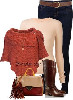poncho and riding boots fall outfit bmodish