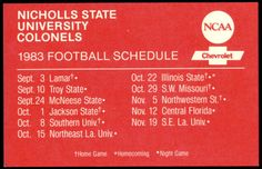 1983 NICHOLLS STATE COLONELS CHEVY  FOOTBALL POCKET SCHEDULE  FREE SHIPPING #SCHEDULE