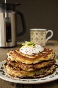 Zucchini (Courgette) Dark Chocolate Chunk Pancakes with Maple Yogurt   Veggie Desserts Blog