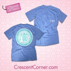 #TrendyThursday! Show off your Gamma Phi pride in this totally cute blue monogrammed pocket t. Like, share or pin for a chance to win all the Crescent Corner items featured in October! #GammaPhiBeta