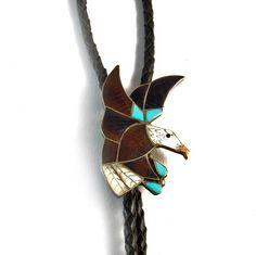 Zuni Inlay Eagle Vintage Bolo Tie