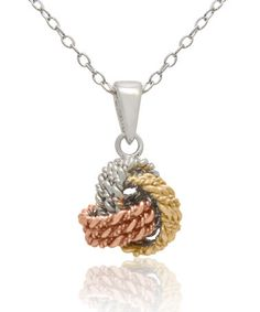 Look what I found on #zulily! Sterling Silver Tri-Color Love Knot Pendant Necklace #zulilyfinds