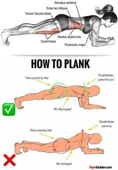 Rock Solid Abs & Core With These 11 Plank Variations Planking has become increasingly popular for core strengthening, and for good reason: it works – in large part because it engages multiple muscle g Gym Workout Tips, Plank Workout, Workout Challenge, At Home Workouts, 30 Day Plank Challenge, Workout Diet, Workout Bauch, Physical Fitness, Excercise
