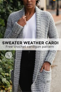The Sweater Weather Cardi - free crochet pattern from TL Yarn Crafts. Long Modern Cozy Crochet Cardigan Pattern with Pockets Pull Crochet, Mode Crochet, Knit Crochet, Crochet Tops, Crochet Shrugs, Crochet Gratis, Easy Crochet, Sweater Weather, Cardigan Au Crochet