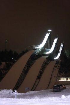 Ski jumping towers in Lahti Finland Travel Around The World, Around The Worlds, Iron Mountain, Tower Design, Ski Jumping, Lake Superior, Nordic Design, Marimekko, Extreme Sports