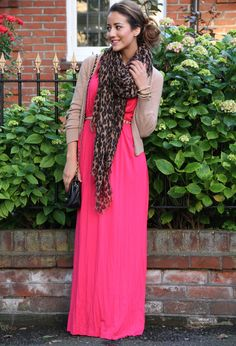 I like the idea of a cheetah scarf with a maxi and a skinny belt